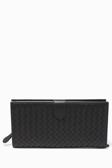 Black Intrecciato Continental Travel Wallet