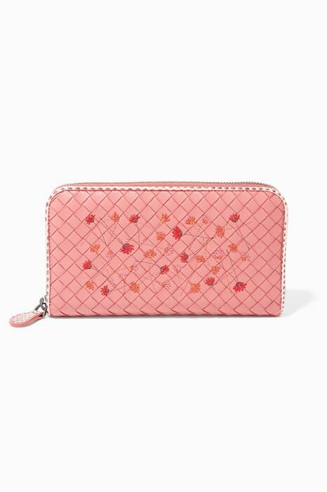 Dusty Rose Embroidered Zip Around Wallet