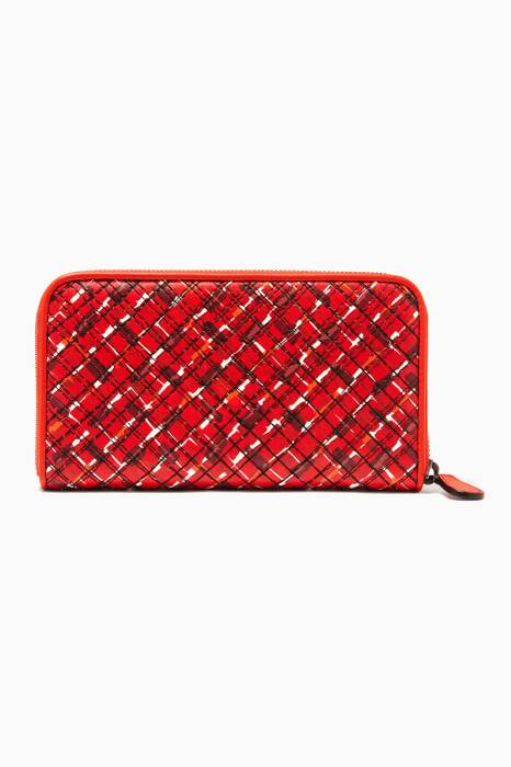 China Red Embroidered Leather Zip Around Wallet