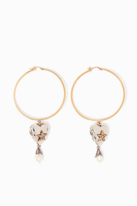 Brass Heart Locket Hoop Earrings