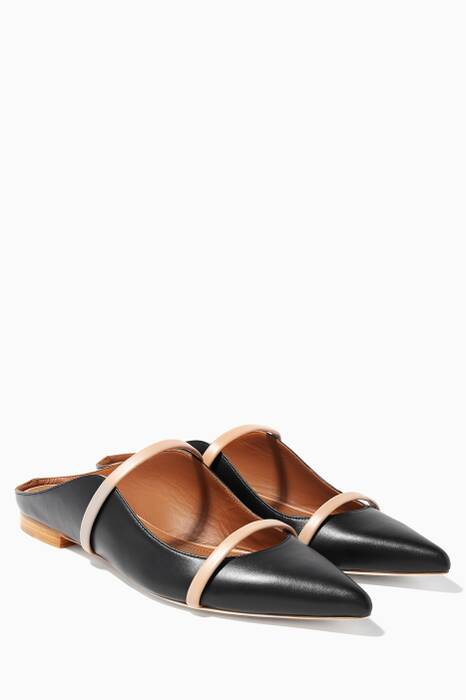 Black Maureen Leather Flats