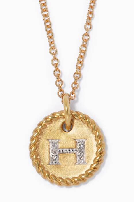 18kt Gold H Initial Charm Necklace with Diamonds