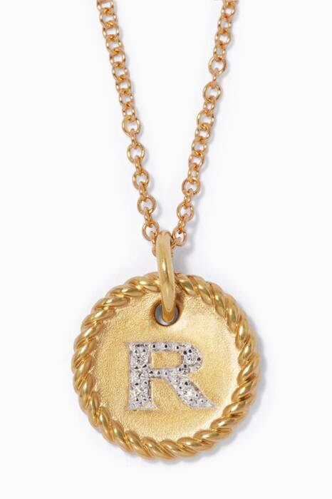 18kt Gold R Initial Charm Necklace with Diamonds