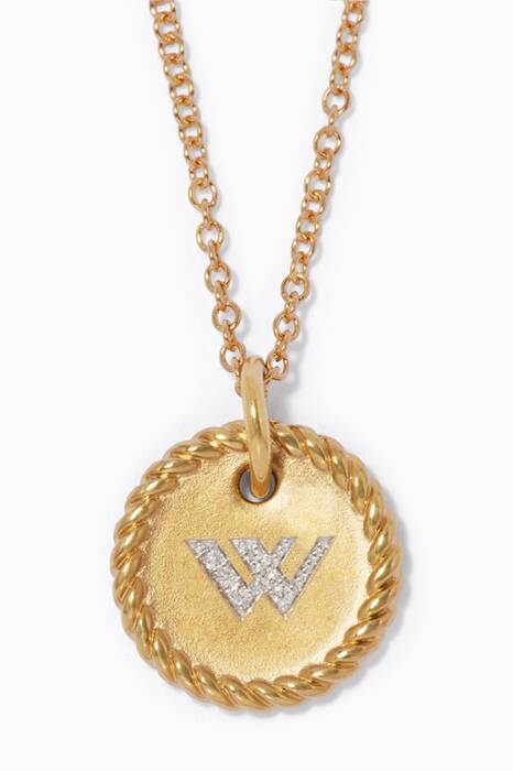 18kt Gold W Initial Charm Necklace with Diamonds