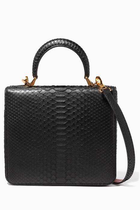 Black Python Square Box Bag