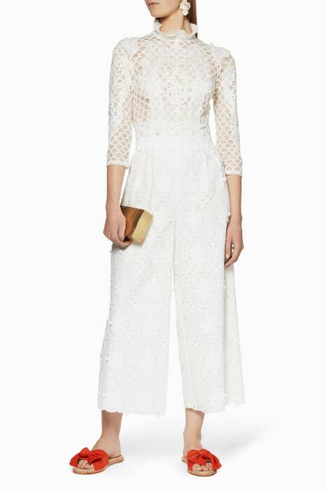 Ivory Appliqué Embroidered Jumpsuit