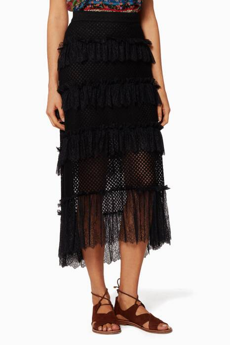 Black Lace-Tiered Skirt