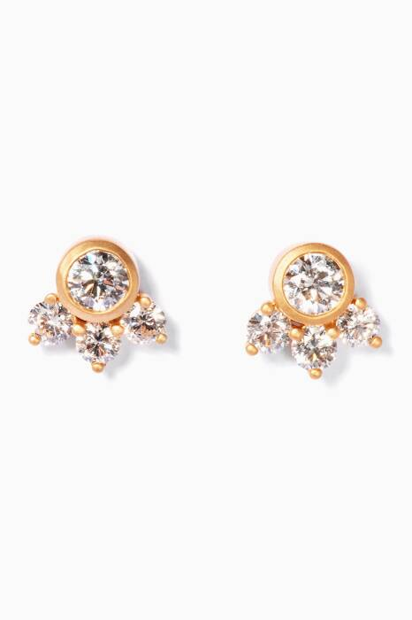 Yellow-Gold & Framed Diamond Earrings
