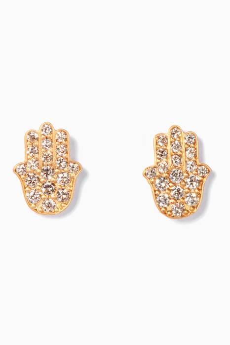 Gold And Diamond Hand Earrings