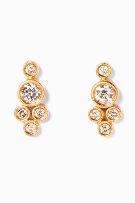 Yellow-Gold & Framed Diamonds Earrings