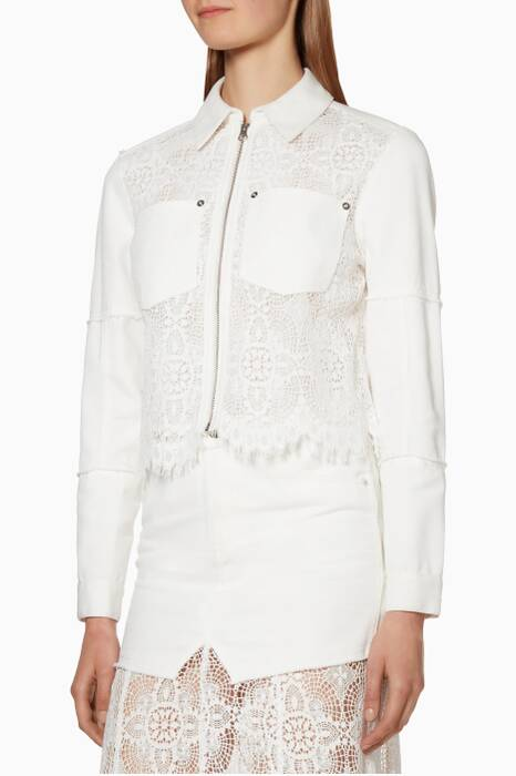 Ivory Lace Denim Bomber Jacket