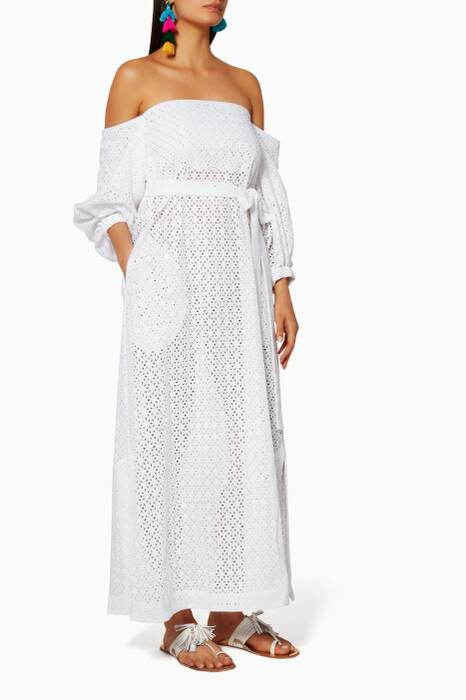 White Off-The-Shoulder Eyelet Dress