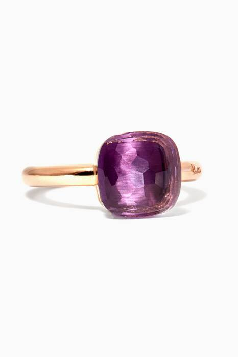 Gold Nudo Ring With Maxi Amethyst Stone