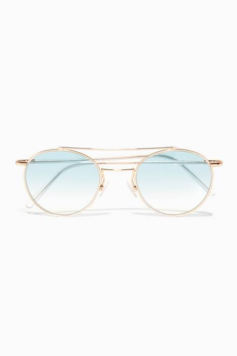 Gold Humphrey Round-Frame Metal Sunglasses