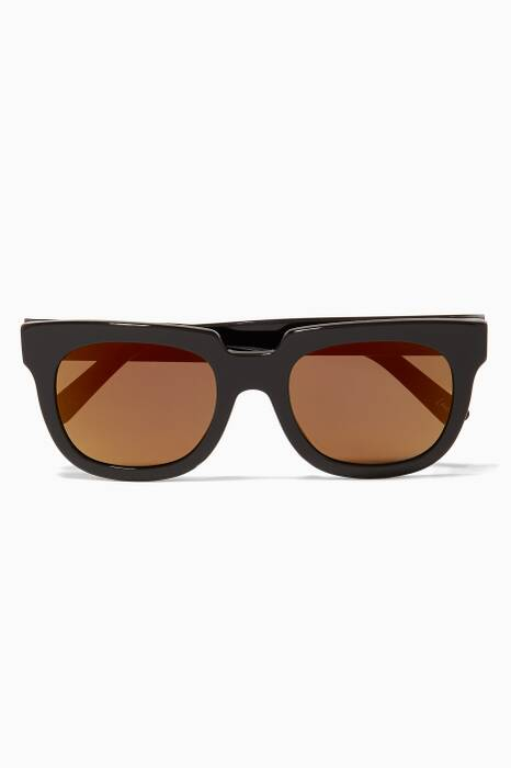 Black Victoria Oversized Square-Frame Sunglasses
