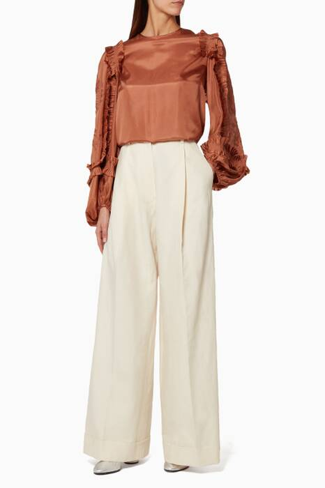 Light-Brown Cotton Embroidered Top