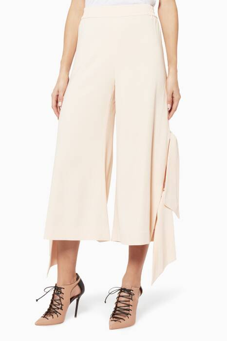 Light Pink Cocktail Side-Tie Trousers