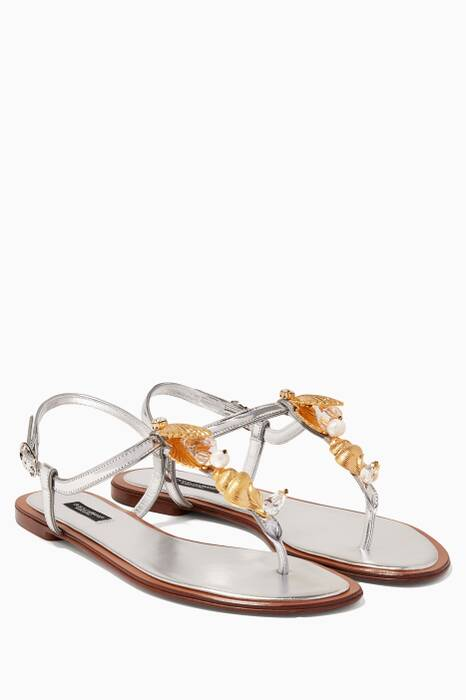 Metallic Shell Embellished Flat Sandals