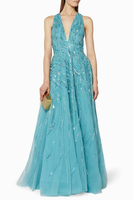 Blue Embellished Gown