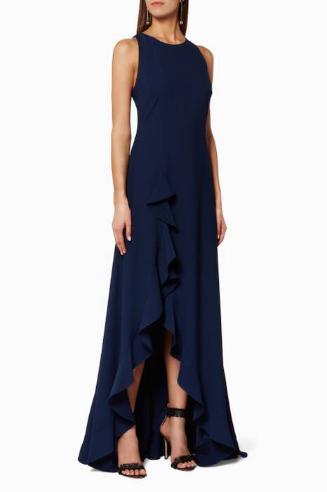 Navy Ruffle Detail Gown