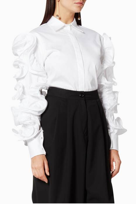 White Ruffled-Sleeve Shirt