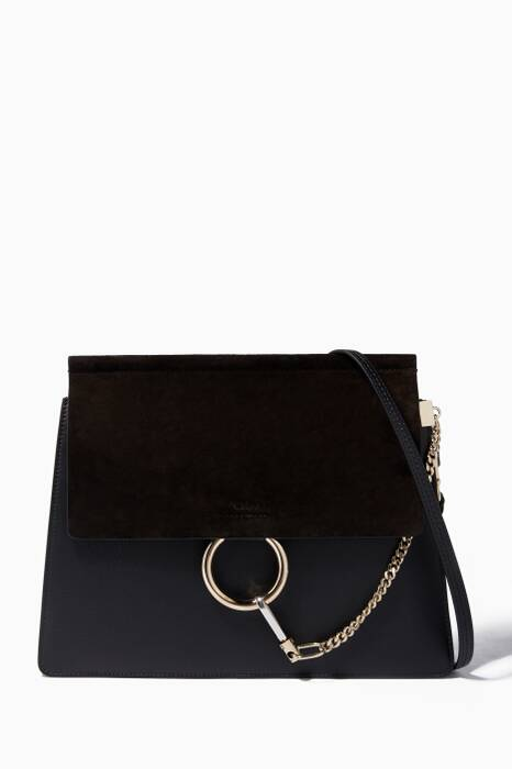 Black Medium Faye Suede Shoulder Bag