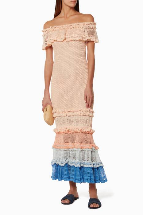 Blush Ruffle Crochet Gown
