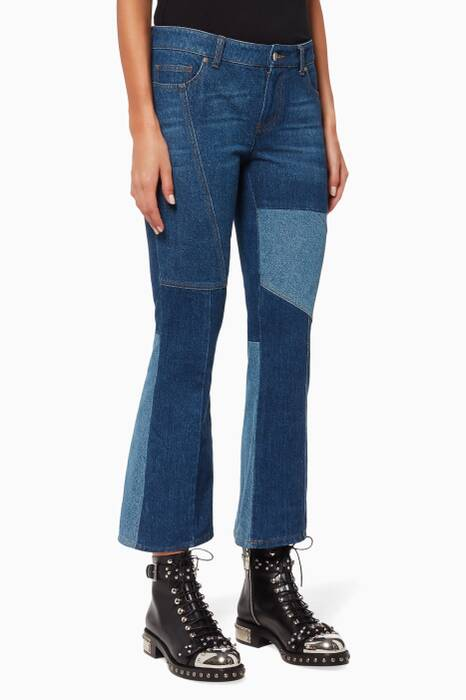 Blue Patchwork Cropped Jeans