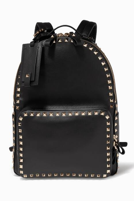 Black Rockstud Leather Backpack
