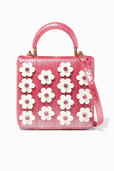 Pink Python Floral Square Box Bag