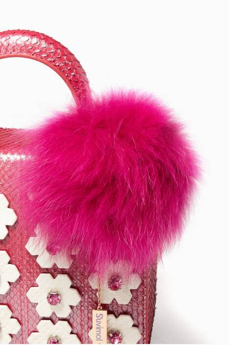 Pink Fox-Fur Pompom Ball