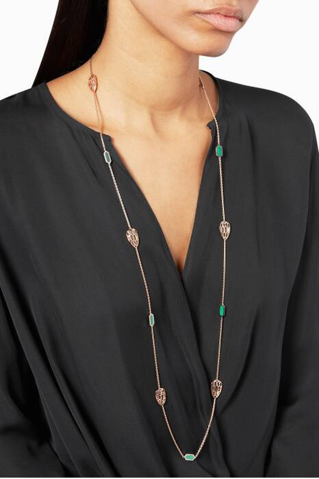 Rose-Gold & Malachite Serpenti Sautoir Necklace