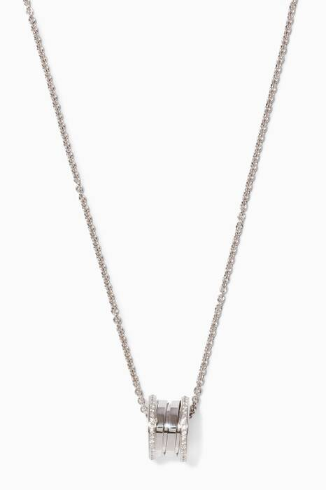 White-gold B.zero1 Pendant With Pavé Diamonds Necklace