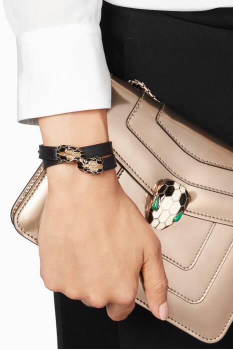 Black Serpenti Forever Leather Bracelet