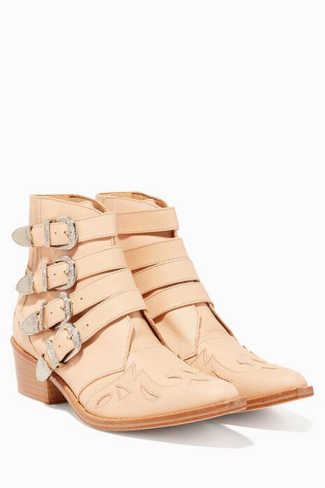 Beige Leather Buckle Ankle Boots