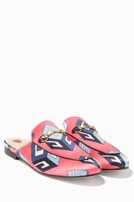 Pink Princetown GG Wallpaper Print Loafers