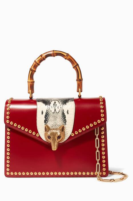 Red Broche Glossy Leather Top Handle Bag
