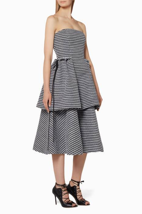 Monochrome Geometric Patterned Tiered Gown