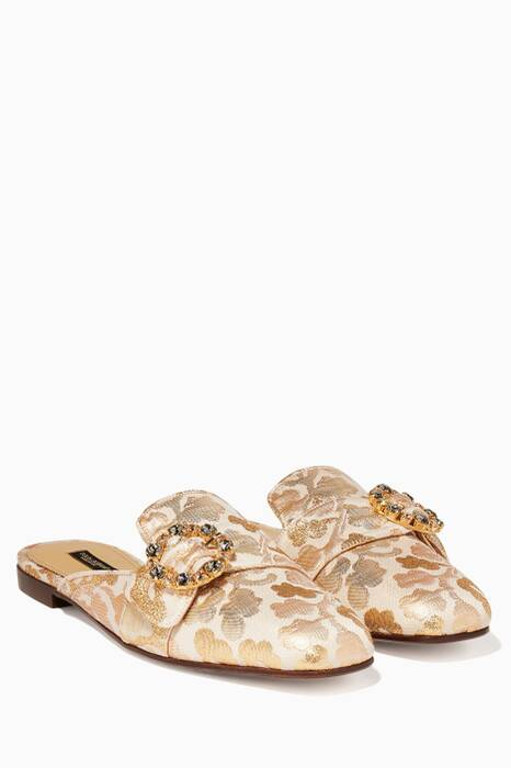Gold Crystal Buckle Jacquard Loafer