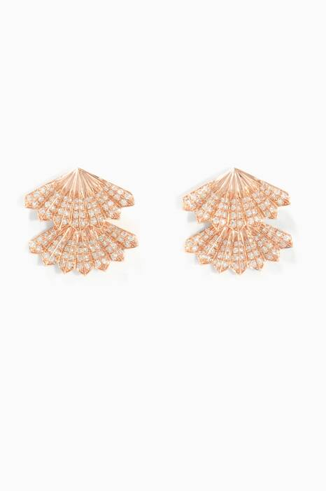Double Fan Rose-Gold Earrings