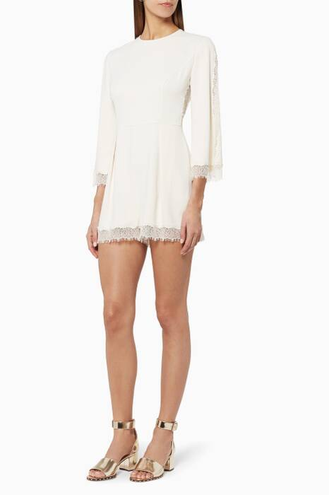 Off-white Pearl Lace Playsuit