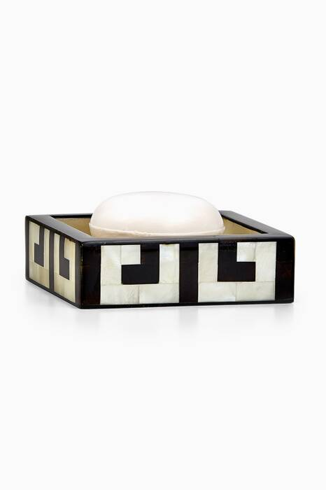 Off-White & Black Greek Key Soap Dish
