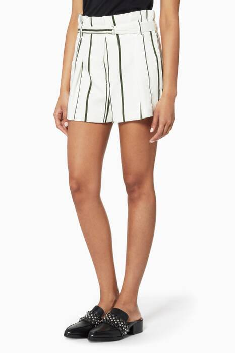 White Striped Pleated Shorts