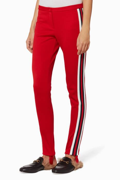 Red Web Tape Technical Jersey Leggings