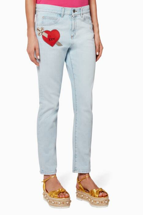 Denim Heart Appliqué Boyfriend Jeans