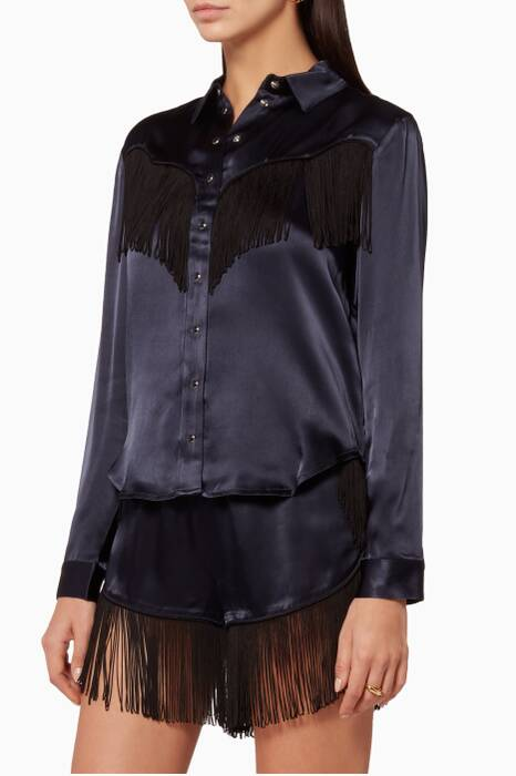 Navy Donnelly Fringed Shirt