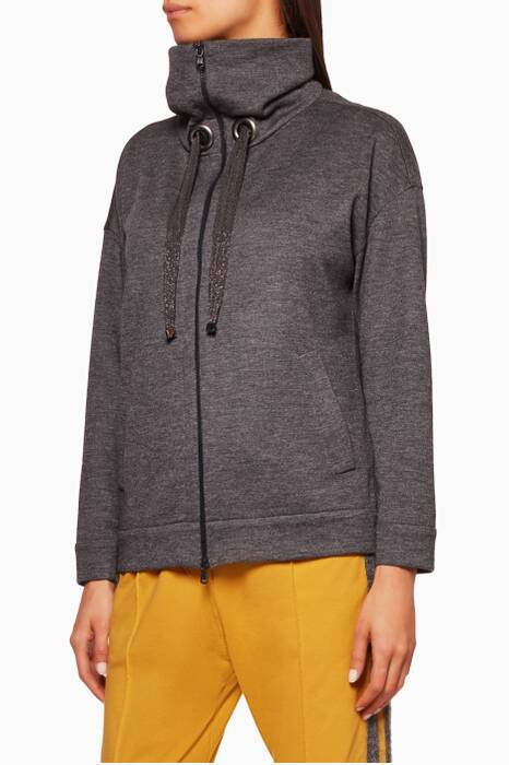 Grey Monile Tie Sweatshirt