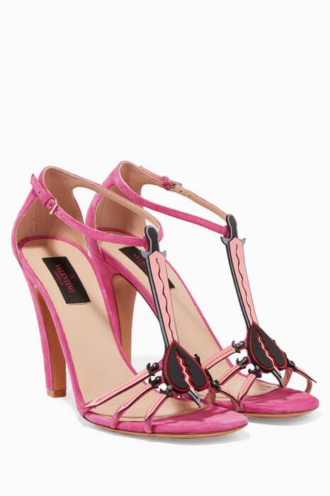 Pink Loveblade T-Strap High Heel Sandals