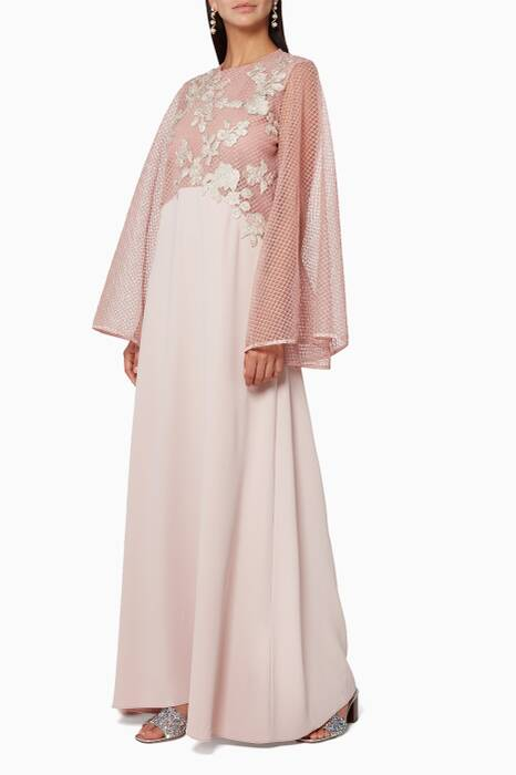 Pink Embroidered Long Abaya