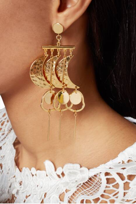 Gold Mur De La Lune Earrings